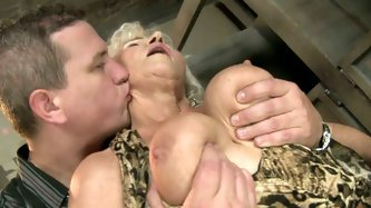 This old woman has a huge sexual appetite. She gives her lover one hell of a blowjob and then she makes him lick her hairy snatch. A bit later she get
